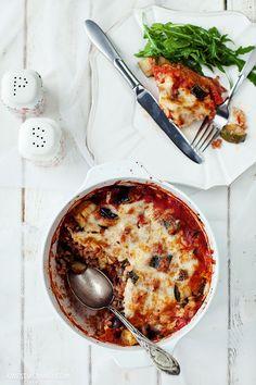 Casserole aubergine + zucchini + tomatoes + rice