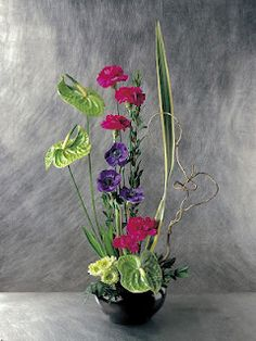 Carnations, anthiriums, anemone, chrysanthemums