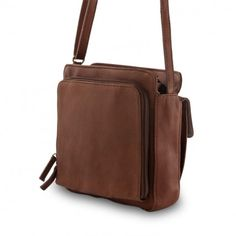 Man's leather shoulder bag with external organizer on www.dudubags.net italia. Dark brown
