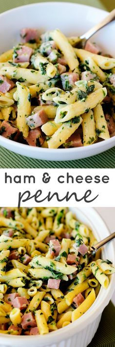 Penne pasta, diced ham, spinach and the most cheesy sauce ever! (Spinach Recipes Pasta And) Ham Pasta, Spinach Pasta, Pasta Dishes, Food Dishes, Penne Pasta, Kids Pasta, Main Dishes, Baked Penne, Spinach Recipes