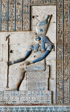 [EGYPT 29599] 'Horus in Dendera.' A relief in the Hathor Temple at Dendera shows Horus of Edfu, sitting on a throne and wearing the combined crowns of Upper and Lower Egypt. The relief is located on the (interior) eastern wall of the outer hypostyle hall of the temple and dates from the first century AD. Photo Paul Smit.