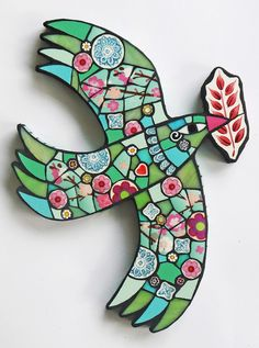"My Paisley World: Amanda Anderson's Vibrant Mosaics ""This is the Place"" Dove ""Then the dove came to him in the evening, and behold, a freshly plucked olive leaf was in her mouth;  and Noah knew that the waters had receded from the earth."" Genesis 8:11 http://mypaisleyworld.blogspot.com/2016/05/amanda-andersons-vibrant-mosaics.html"