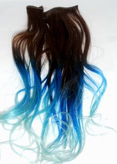 Ready to Ship Brown to bluelue/Pastel Blue Ombre by ArtisicStrands,