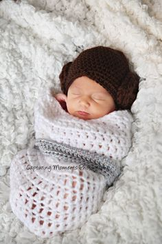 This is hand crocheted with soft washable yarn. Keeps baby nice and warm so they are sleepy for their first picture session. Can pull up under chin or