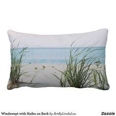 Windswept with Haiku on Back Lumbar Pillow