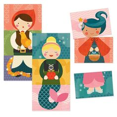 Kids can create hundreds of beloved fairy tale friends with these charming Mix and Match Cards from Petit Collage! Combine any of the heads, bodies and legs together to make endless fairy folk. Match
