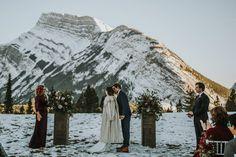 Banff Tunnel Mountain Intimate Wedding via Rocky Mountain Bride Winter Mountain Wedding, Snowy Wedding, Mountain Elopement, Wedding Bride, Winter Wedding Ceremonies, Winter Wedding Inspiration, Wedding Ideas, Winter Destinations, Banff National Park