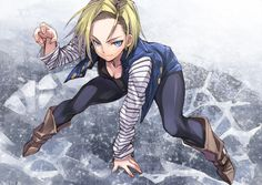 android 18 black legwear blonde hair blue eyes boots breasts brown boots cleavage dragon ball dragon ball z dragonball z earrings jacket jewelry looking at viewer matsuryuu pantyhose short hair smile solo Android 18, Anime Neko, Manga Anime, Anime Art, Dragon Ball Z, Bd Comics, Anime Comics, Caulifla Hot, Majin