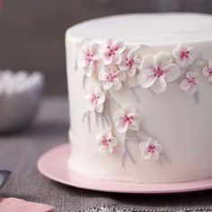 Simple and sweet, this Cherry Blossom Cake is the perfect finish to a bridal shower or large dinner party. An eye-catching floral branch makes this subtle cake stand out among the rest, and it's simple enough for beginning decorators as well as those who Cherry Blossom Cake, Cherry Blossom Wedding, Cherry Blossoms, Wilton Cakes, Mini Cakes, Cupcake Cakes, Fondant Flower Cake, Pear Cake, Royal Icing