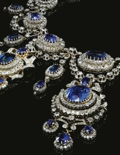 Sapphire and Diamond Demi-Parure (Necklace and Earrings), ca. 1870Mellerio Dits Mellervia Sothebys  Absolutely breathtaking! The catalog listing notes that this is from the collection of His Serene Highness Prince Carlo Della Torre et Tasso, and was formerly owned by Princess Marie Bonaparte and Princess Eugenie of Greece and Denmark.