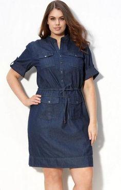 Plus Size com Estilo – Modelos de Vestidos Jeans para Gordinhas                                                                                                                                                                                 Mais