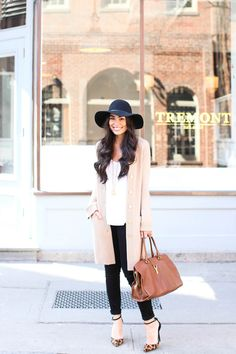 love the layering in this outfit! the cardigan and hat are PERFECT