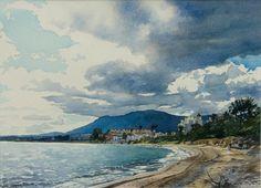Rain Clouds over Estepona (watercolor by Brian Robinson)