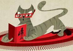 Gato Leyendo el Gato con Botas / Hugo Horita