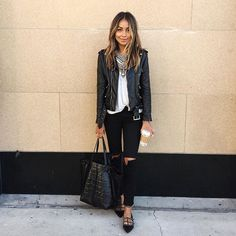 Pin for Later: 100 Easy Outfit Ideas to Try This Spring A White T-Shirt, Black Ripped Jeans, a Leather Jacket, and Black Flats