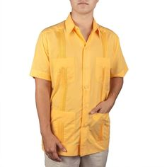 Men's Cotton blend guayabera short sleeve, size: Small, color: Gold.