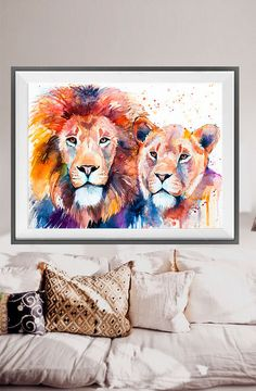 Lion Lioness Love watercolor painting print lion art by SlaviART