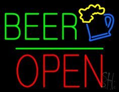 Beer Logo Block Open Green Line Neon Sign 24 Tall x 31 Wide x 3 Deep, is 100% Handcrafted with Real Glass Tube Neon Sign. !!! Made in USA !!!  Colors on the sign are Green, Yellow, Blue and Red. Beer Logo Block Open Green Line Neon Sign is high impact, eye catching, real glass tube neon sign. This characteristic glow can attract customers like nothing else, virtually burning your identity into the minds of potential and future customers.