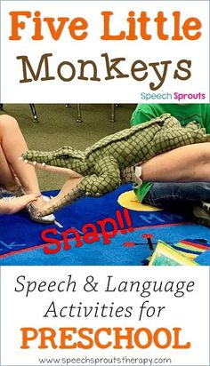 Monkeyshines in the Speech Room: Adorable Five Little Monkeys Craft and Language Activities Rhyming Activities, Language Activities, Kindergarten Activities, Jungle Activities, Preschool Lessons, Preschool Learning, Early Learning, Learning Activities, Preschool Jungle