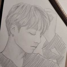 BTS JK fanart Love this picture! Great drawing of Jungkook❤ Bts Jungkook, Jungkook Fanart, Kpop Fanart, Kpop Drawings, Pencil Art Drawings, Art Drawings Sketches, Lineart Anime, Bts Art, Bts Fan Art
