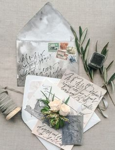Modern Pointed Pen Wedding Calligraphy Inspiration from Jessica Gatlyn of Bohemian Ink via Oh So Beautiful Paper