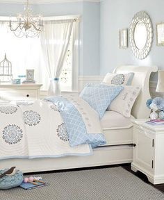 Light blue bedroom - so peaceful! Love these colors