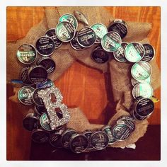 Snuff wreath! Made with snuff cans added little fishing lures and a B for the last name!