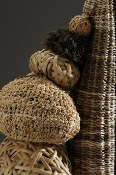 Detail of 'Trying to Keep It Together' by California fiber artist Polly Jacobs Giacchina. via Fibre Arts Australia Textiles, Weaving Art, Textile Artists, Natural Texture, Basket Weaving, Decorative Accessories, Fiber Art, Wicker, Contemporary Art