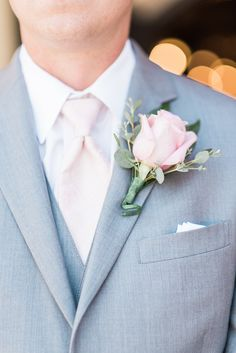 Classic groom boutonniere idea - pink rose boutonniere with greenery {B. Jones Photography}