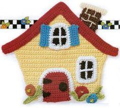 Cute crochet house ♥LCA♥ with diagrams. Crochet Kitchen, Crochet Home, Cute Crochet, Crochet For Kids, Crochet Crafts, Crochet Projects, Crochet Applique Patterns Free, Crochet Motifs, Magazine Crochet