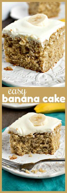Easy Banana Cake – A moist, dense banana sheet cake topped with homemade cream cheese frosting. Easy Banana Cake – A moist, dense banana sheet cake topped with homemade cream cheese frosting. Best Cake Recipes, Cupcake Recipes, Cupcake Cakes, Cupcakes, Dessert Simple, Banana Sheet Cakes, Banana Cake Icing, Vanilla Cake, 13 Desserts