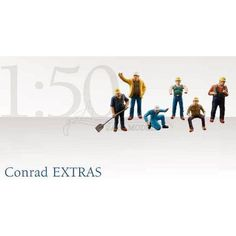 1:50 Scale - 6 Piece Construction Workers Figurine Set By Conrad 99801 1:50 Scale Diecast Model Figurines Perfect Addition to any Diecast Collection