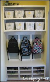 Mudroom with storage space for shoes, backpacks, coats and more!!