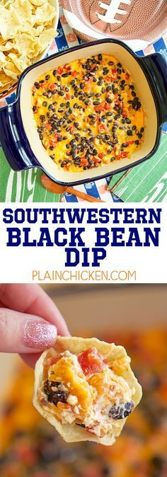 Southwestern Black Bean Dip - CRAZY good! Only 5 ingredients! Cream cheese, taco seasoning, diced tomatoes and green chiles, black beans and cheddar cheese. Always the first thing to go! Can assemble ahead of time and bake when ready to eat. Everyone always asks for the recipe!