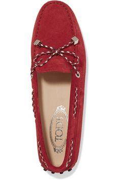 e6803815f30 Tod s - Gommino Leather-trimmed Suede Loafers - Red