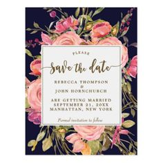 #navy boho floral wedding save the date postcard - #floral #gifts #flower #flowers