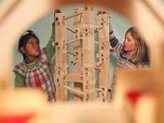 This musical wooden marble run, discovered by The Grommet, is a building toy that encourages creativity, construction skills, and music appreciation.