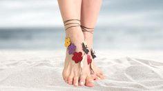 Flower barefoot sandals barefoot beaded beach jewelry