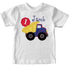 He loves construction trucks so this is sure to be his favorite T-shirt. Personalized with his name and age makes it extra special. http://luckyskunks.com/birthday-outfits/356-party-monster-t-shirt.html