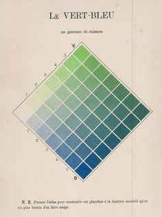 "design-is-fine: "" Charles Lacouture, Le Vert-Bleu, Chromatic directory. Solution reasoned and practical to the most common problems in the study and use of colors, 1890. Gauthier-Villars, France. """