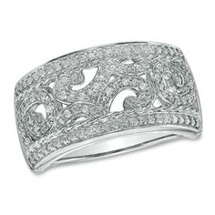 Diamond accent scroll band in sterling silver - right hand rings