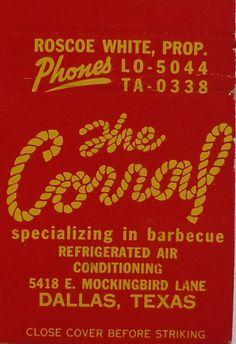 Vintage matchbook:  The Corral BBQ restaurant, 5418 E. Mockingbird Lane, Dallas, Texas by coltera, via Flickr