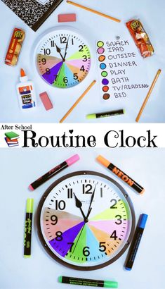 Good visual representation to reenforce routine Could teach time management: could send home After School Routine, School Routines, Daily Routines, School Tips, Verben Mit Dativ, Routine Chart, Kids Schedule, Summer Schedule, Clock For Kids