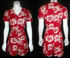VINTAGE 80s RED HAWAIIAN BEACH CULOTTES TROPICAL WHITE FLOWERS sz M #Handmade