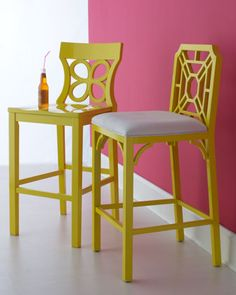 I'd love the one on the left in RED! Yellow Barstools by Lilly Pulitzer Home at Horchow.