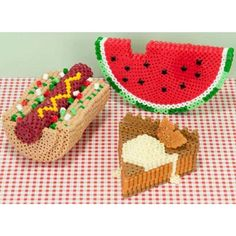 Perler Beads, 3-D Picnic Faves FREE Downloadable Pattern - Herrschners