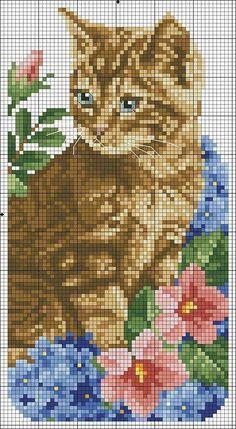 Cat bead pattern: - Beautiful and different ideas Beaded Cross Stitch, Cross Stitch Flowers, Cross Stitch Charts, Cross Stitch Designs, Cross Stitch Embroidery, Cross Stitch Patterns, Cat Cross Stitches, Beading Patterns, Embroidery Patterns