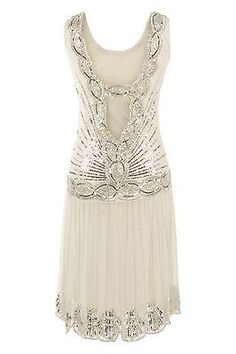 CREAM SEQUIN CHARLESTON FLAPPER  GATSBY dress 1920's ART DECO gorgeous