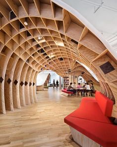 The Barbarian Group. Clive Wilkinson Architects; Design Republic Partners Architects LLP.  Imagine an endless table—1,100 feet long, connecting as many as 175 employees—snaking up and down and through a 20,000-square-feet office space.