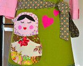 Matryoshka Love Valentine Apron Chefs Apron Applique Pocket Skirt Topper
